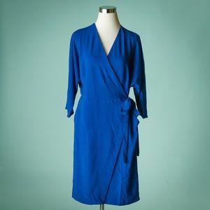 Topshop 12 Royal Blue Tie Waist Wrap Dress NWT